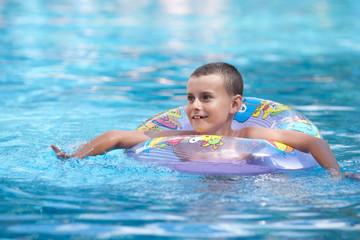Little boy in a pool