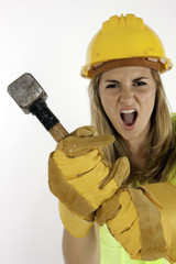 Angry Construction Girl About To Strike