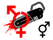 Male and female gender symbol separated with chainsaw