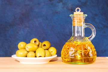 Olives and a bootle of oil