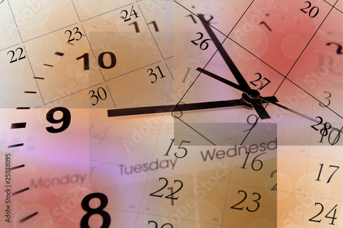 Clock face and calendars