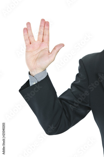 Man giving Vulcan salute Poster