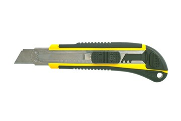 Isolated yellow box cutter with removable blades