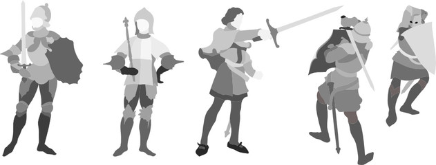 Illustration of 5 Knights (Set Two)