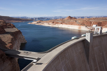 Scenic Landscape of Glen Canyon Dam and Lake Powell