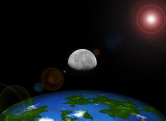 Abstract earth, moon and sun