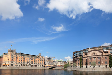 Stockholm city view, Parlament building, Gamla Stan.