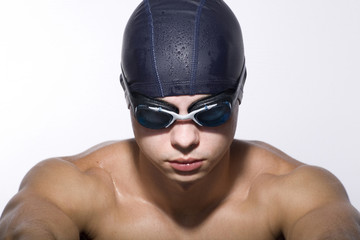 Portrait of Man Wearing Swimming Cap and Goggles