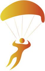 human sailing in air using parachute