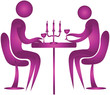 human couple having candle light dinner