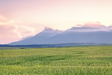 Sunset over Tatras.