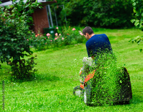 Ride-on lawn mower cutting grass. Focus on grasses in the air