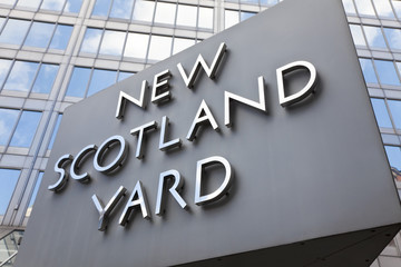 Iconic New Scotland Yard Police Station Sign London England