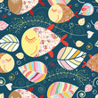 Seamless pattern with autumn leaves and fish