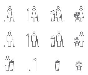 Icon Set Golf & Bogenschießen