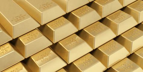 Pila di lingotti d'oro