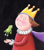 Fairytale King holding a frog poster