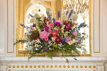Beautiful bouquet in luxury interior.
