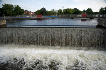 Water flowing off canal lock