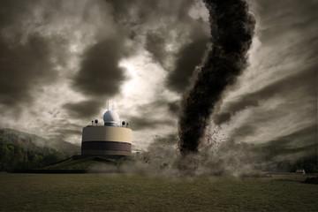 Large tornado over a meteo station