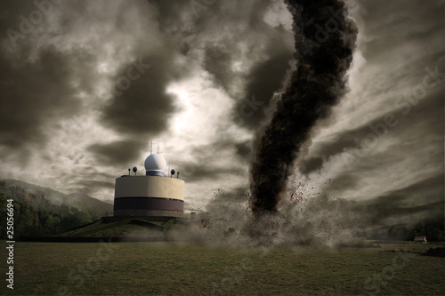 Large tornado over a meteo station