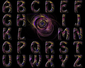 Vibrant Swirl Nebula Alphabet Collage