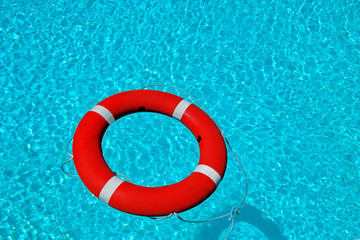 Lifesaver rescue buoy in water