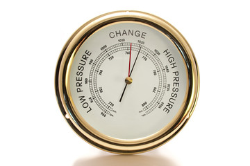 Barometer Brass with White Face Isolated