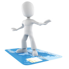 3d man surfing on a credit card