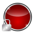 glossy red icon - safety