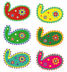 set of six paisley with mexican colors
