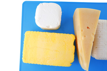 greek cheeses on blue