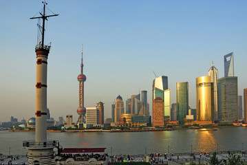 China Shanghai Pudong skyline at sunset.