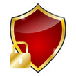 glossy red and golden shield - protection