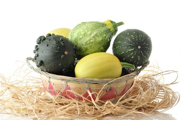 variety of decorative squashes