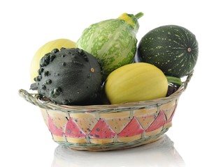 decorative squash in the basket