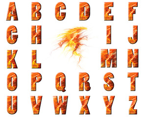 Flame and Lava Alphabet Collage