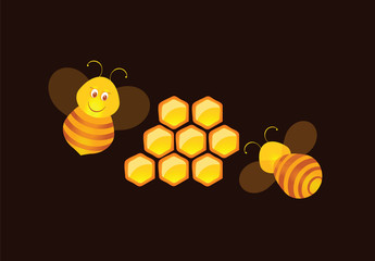 illustration of bees and the honey comb