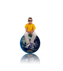 boy with sunglasses sit on Earth, isolated on white