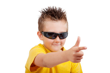 boy with sunglasses isolated on white background