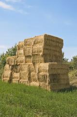 Bales of hay in rural setting.