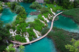 Fototapety Waterfalls in Plitvice National Park. Aerial view.