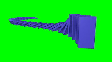 Blue dominos falling against a green background