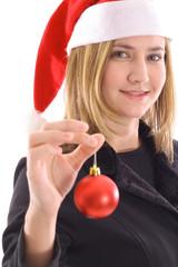 blonde santa girl holding ornament