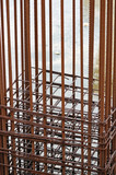 Rusty metal reinforcement bars mesh at construction site poster