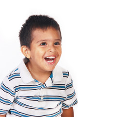 Toddler laughing portrait on white background