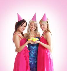 Girls celebrating a birthday