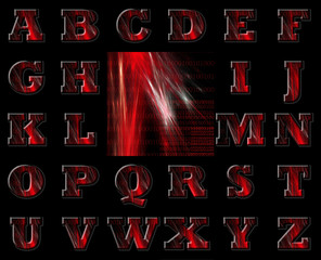 Red Binary Code Alphabet and Background