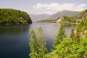 Bergsee Talsperre Staudamm Stausee Südtirol Dolomiten
