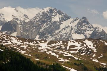 alpen überblick panorama schnee bedeckt Winter dolomiten